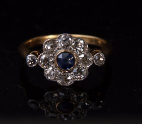 A diamond and kyanite cluster 18ct gold ring, one