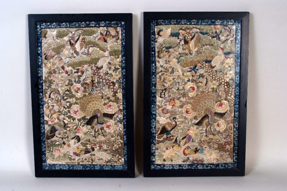 A pair of 19th century Chinese hand embroidered silks,