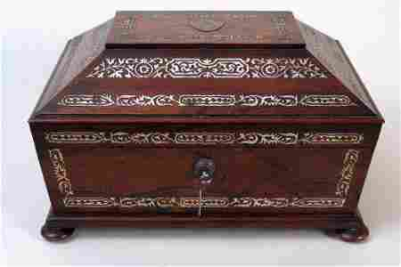 A fine Regency rosewood and mother of pearl inlay