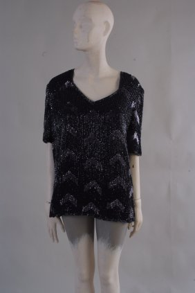 A 1970's 'Frank Usher' Top.  A Black and silver Beaded