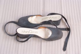 A pair of Mary Quant shoes. Grey suede, wedged low heel
