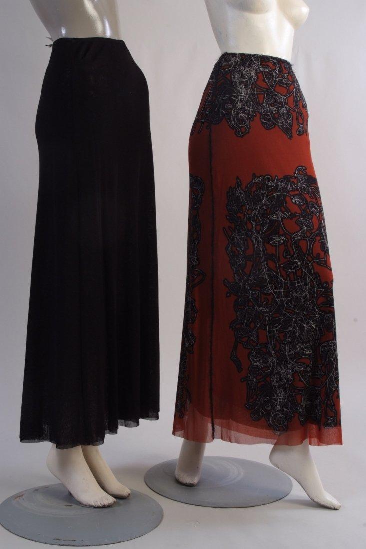 Two Jean Paul Gaultier Mesh Tattoo skirts.  A rust