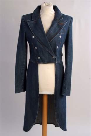 A 'Jean Paul Gaultier' denim tail coat. A ladies jean