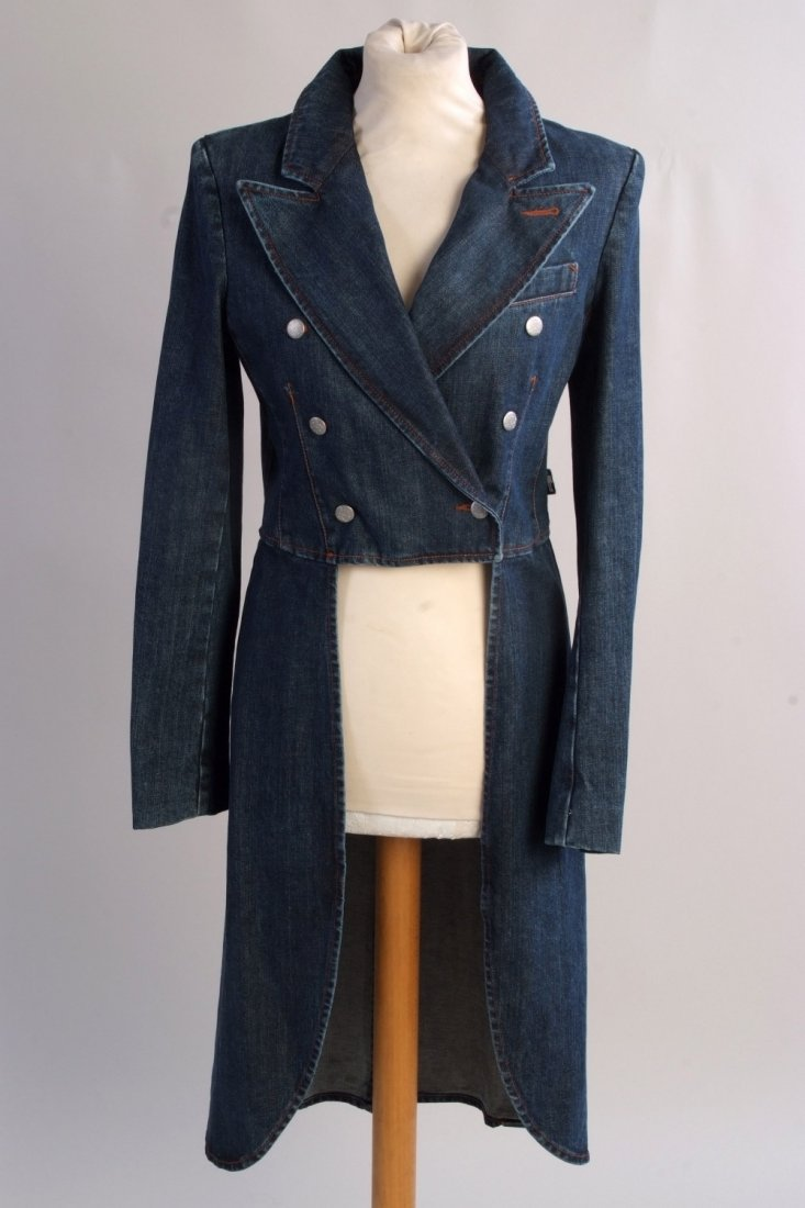 A 'Jean Paul Gaultier' denim tail coat.  A ladies jean