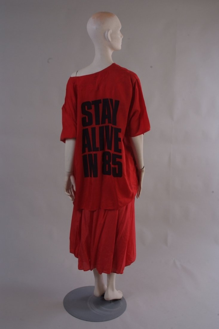 A 'katherine Hamnett'  Stay Alive in 85 skirt and top.