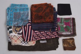 A collection of Designer Silk Scarves. To include a