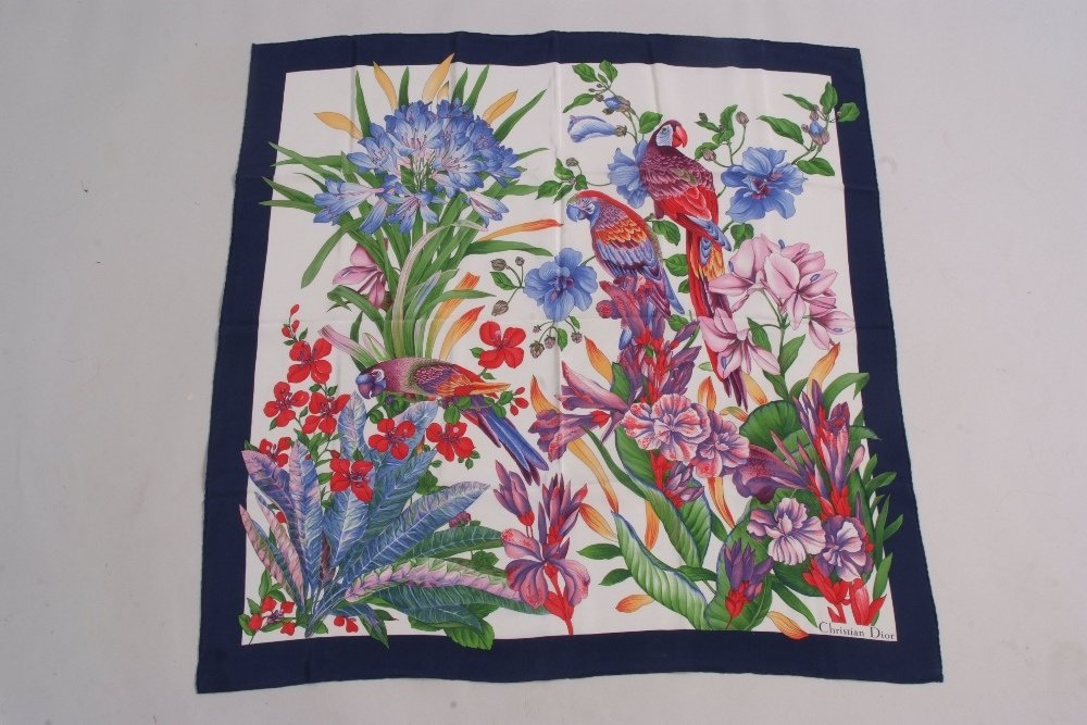 A Christian Dior silk Parrot scarf.  With flowers and