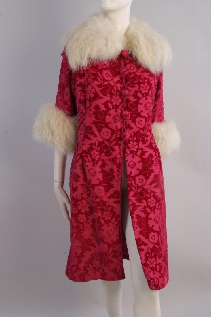 A 1920's Velvet Devore with Artic Fox Fur Coat. This