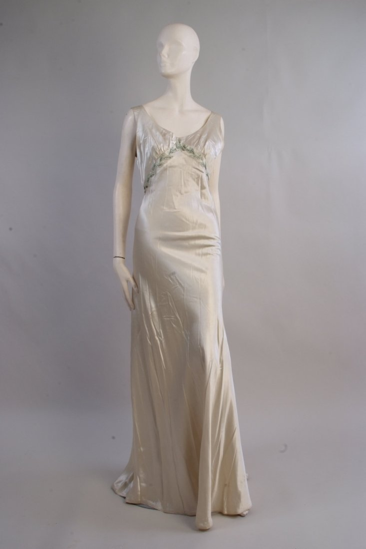 A 1930's Charles Frederick Worth Satin Ballgown with