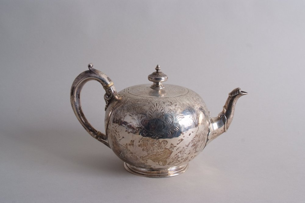 An early Victorian silver teapot, by William Moulson,