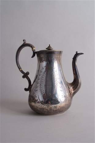 A Victorian silver coffee pot, by John Wakefield,