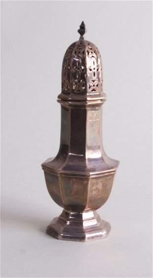 A George VI silver sugar castor, by Goldsmiths &