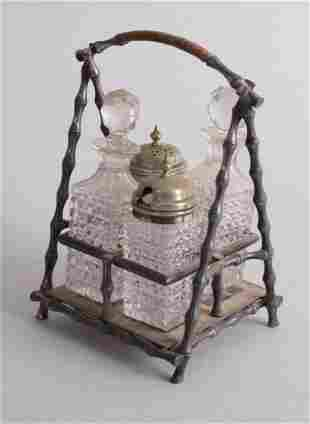 Victorian silver plated four piece condiment set in the