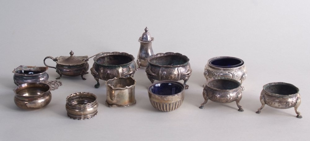 A number of Victorian and later silver salt, pepper and