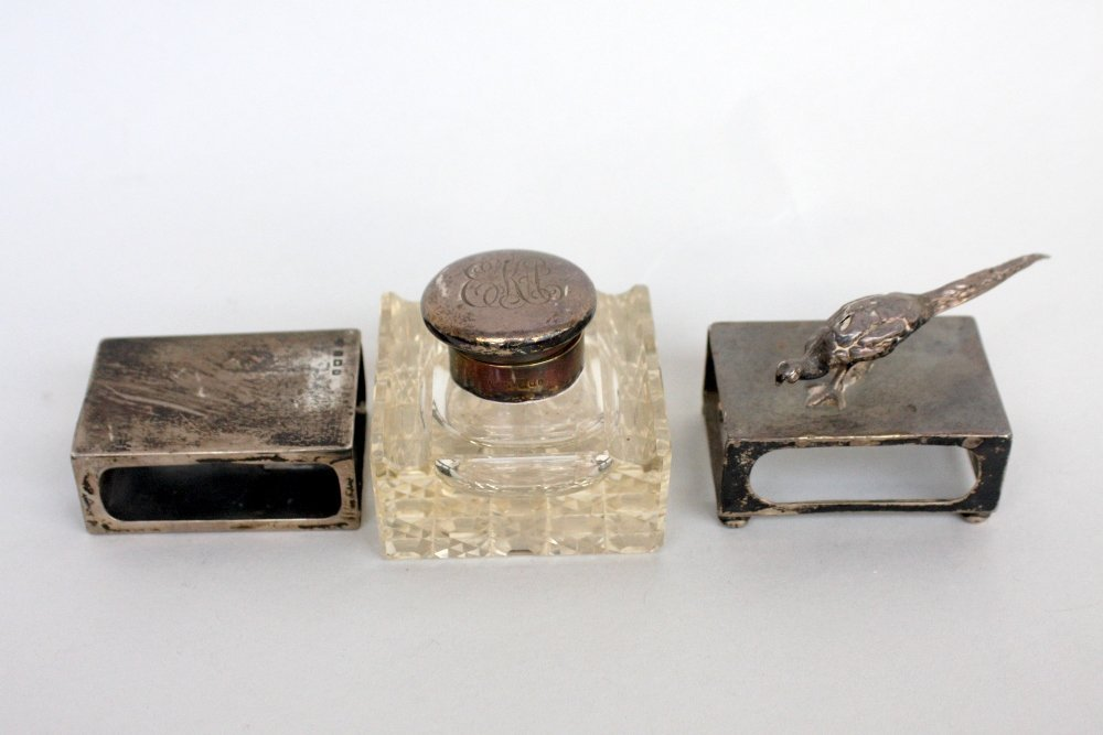 An Art Deco silver and glass inkwell, London 1926, with