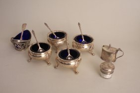 Four early 20th century silver salts, London 1923,
