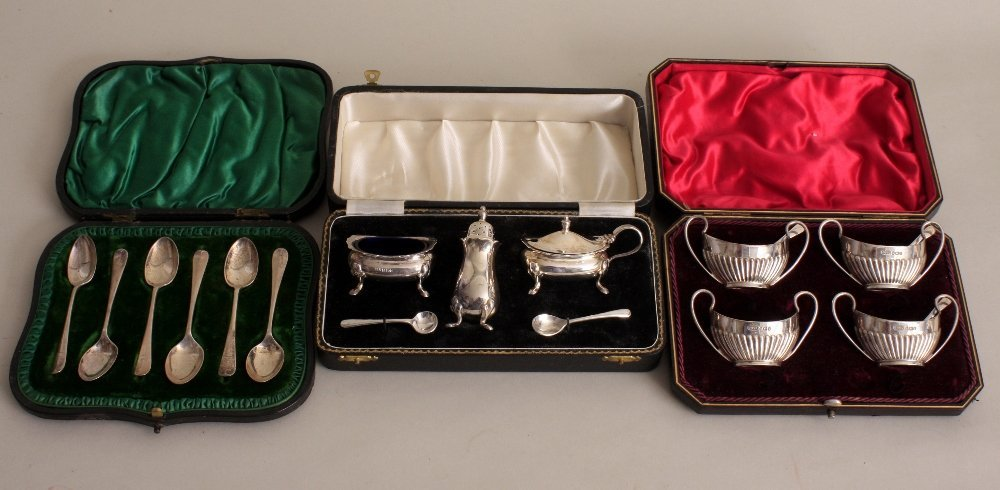 A cased set of four Victorian silver salts, by James