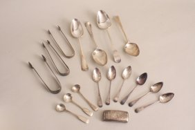 A mixed lot of Georgian silver, to include three pairs