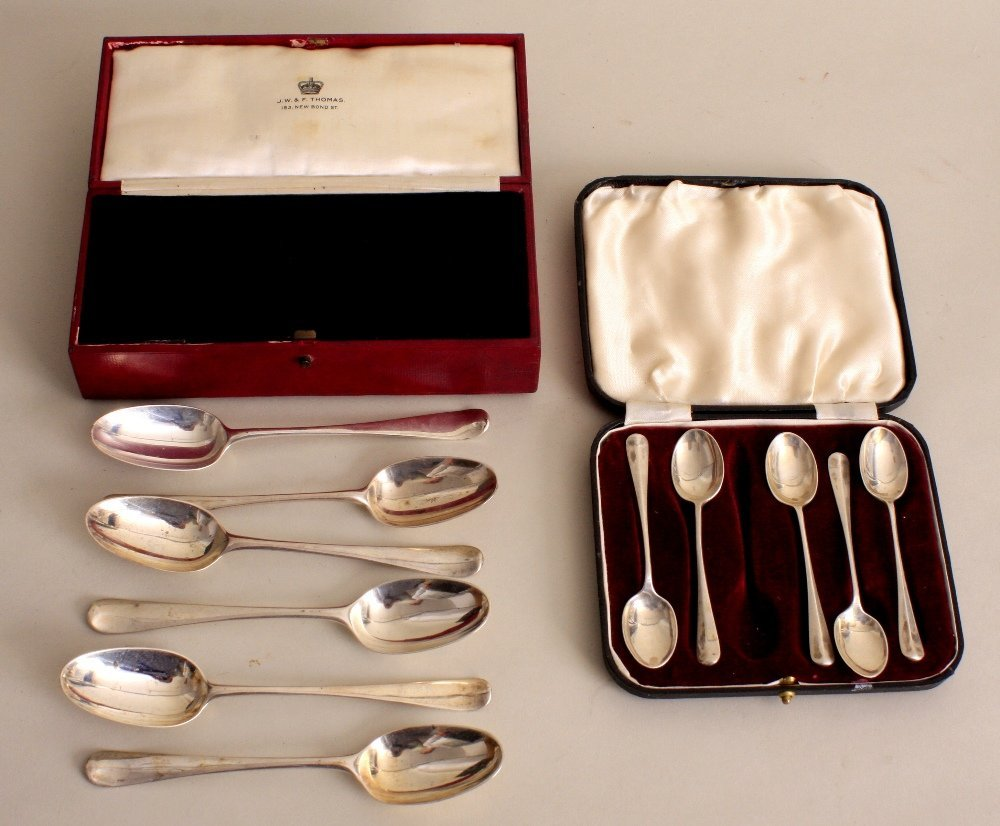 A cased set of six George III silver dog nose pattern