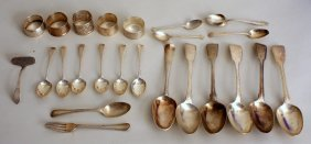 A mixed lot of Georgian and later silver spoons, fork,