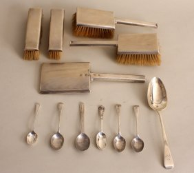 An Art Deco silver vanity set, by Goldsmiths &