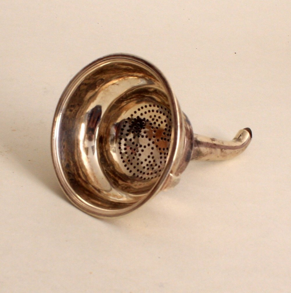 A George III silver wine funnel, makers mark rubbed,