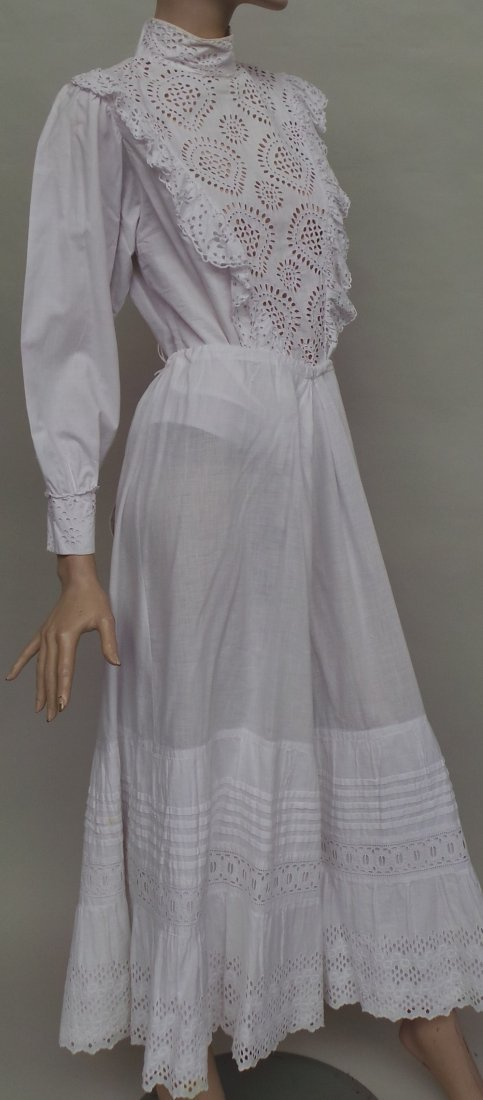 A Victorian white cotton broderie anglais long sleeved