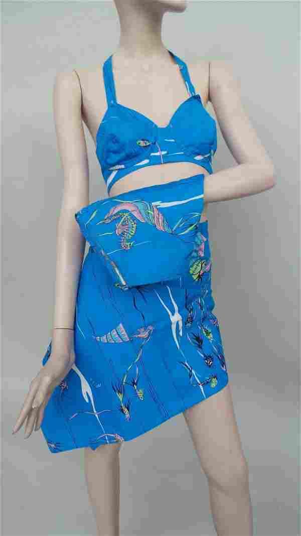 1950's style halter neck cottton bikini created by