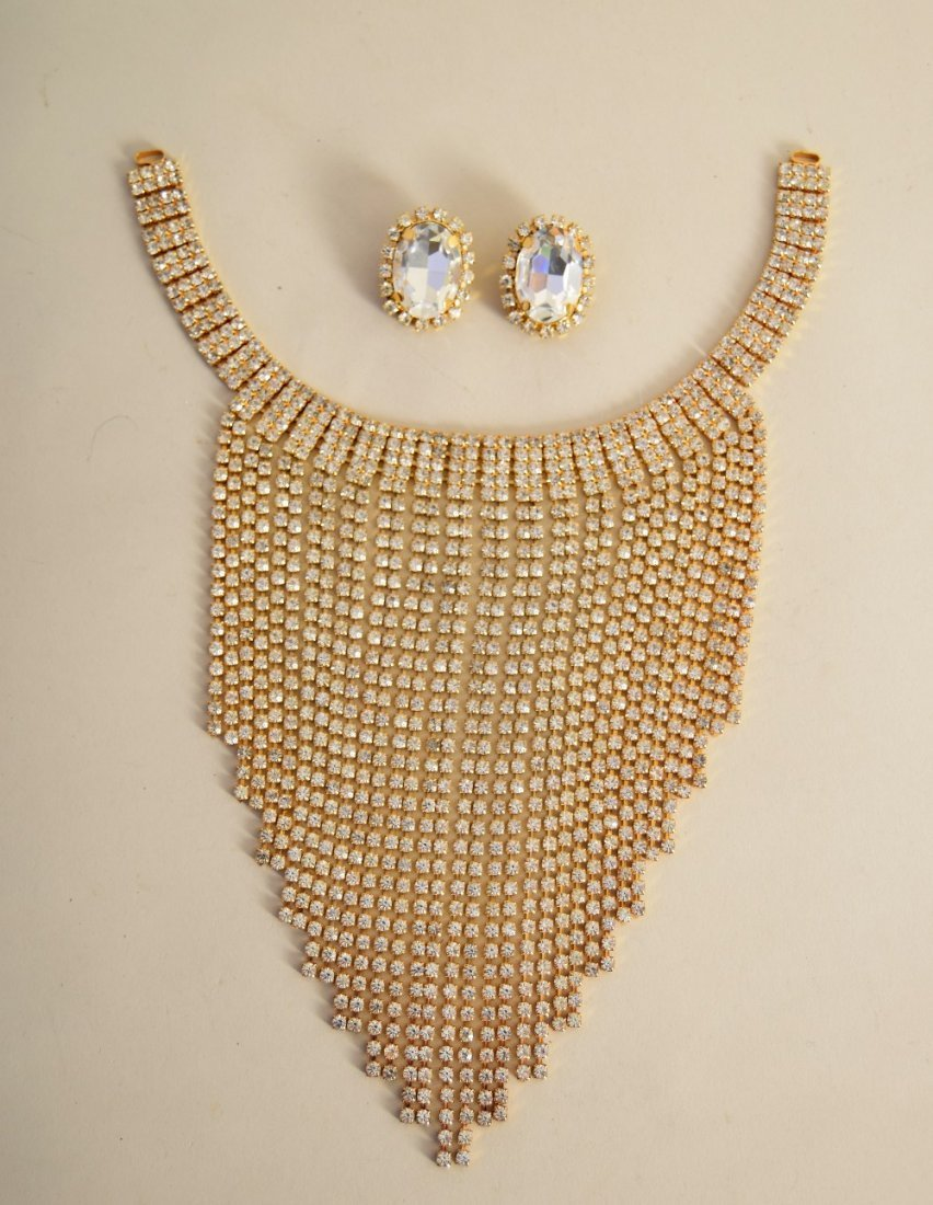 A 1980's Italian necklace and matching earrings, signed