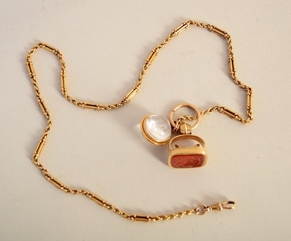 A 15ct late Victorian fancy link gold Albert chain