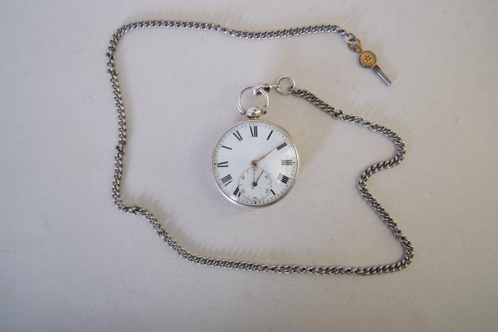 A Georgian silver open face pocket watch, Massey