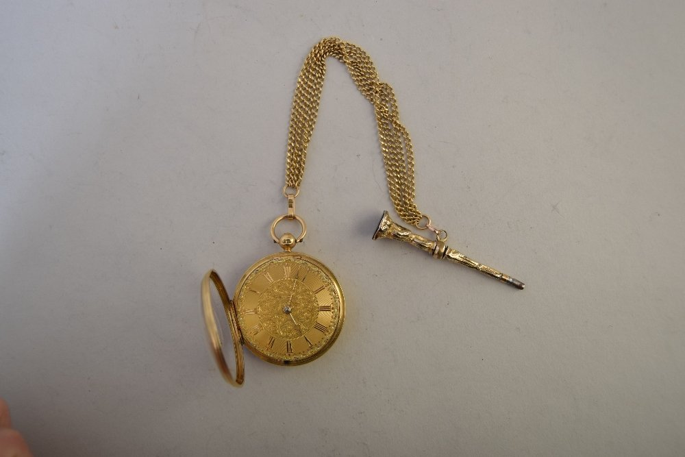 An 18ct gold open face pocket watch, with gilt movement