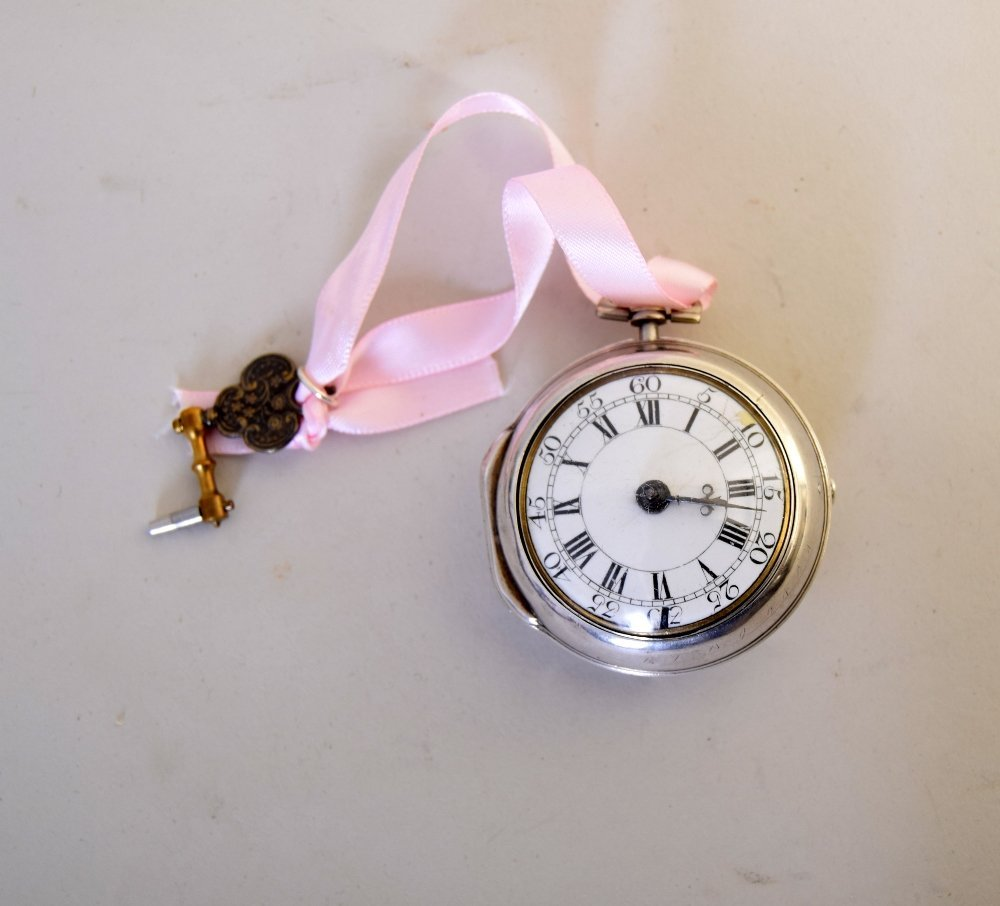 A George II silver pair cased verge pocket watch, the