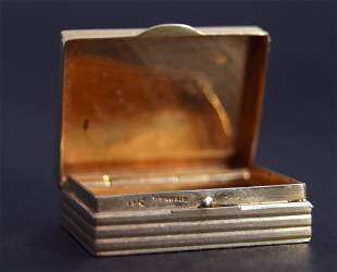 A Tiffany 14ct gold pillbox rectangular with reeded
