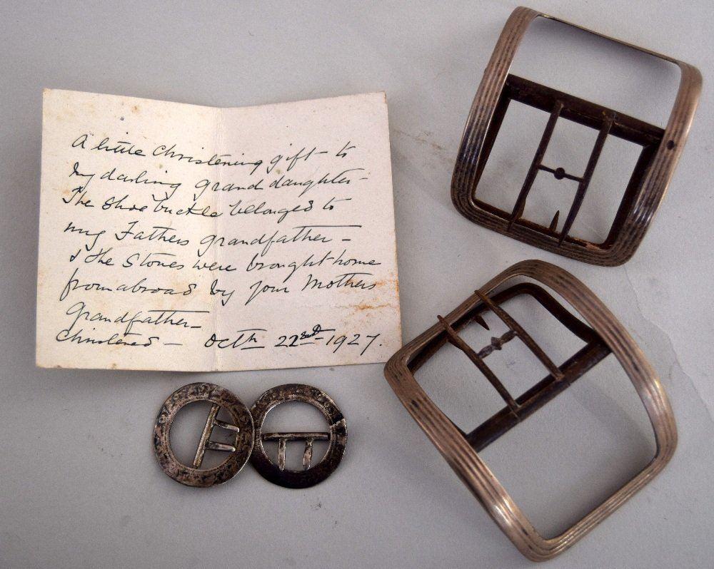 A pair of George III silver shoe buckles by  IP with a