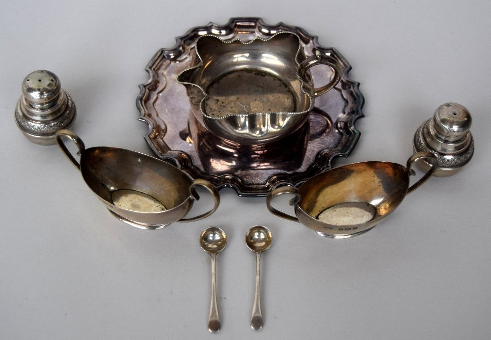 A set of silver and silver plated items including two