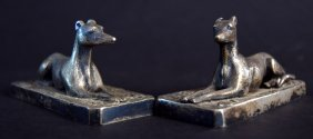 Two Elkington and Co. silver plated figures of whippets