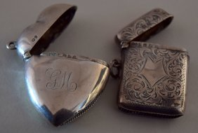 A silver heart shaped Vesta case, Nathan & Hayes,