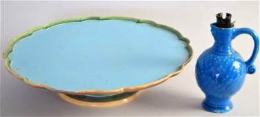A Victorian majolica Lazy Susan with strapwork base