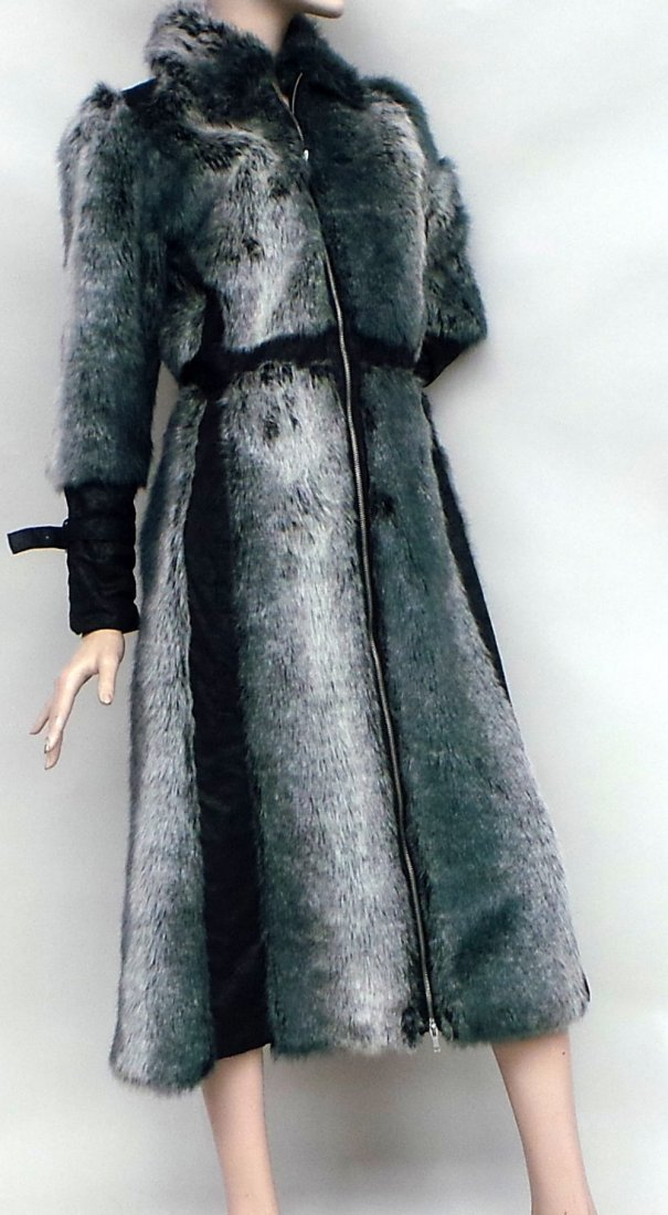 An unusual 70's/80's grey faux fur calf length fitted