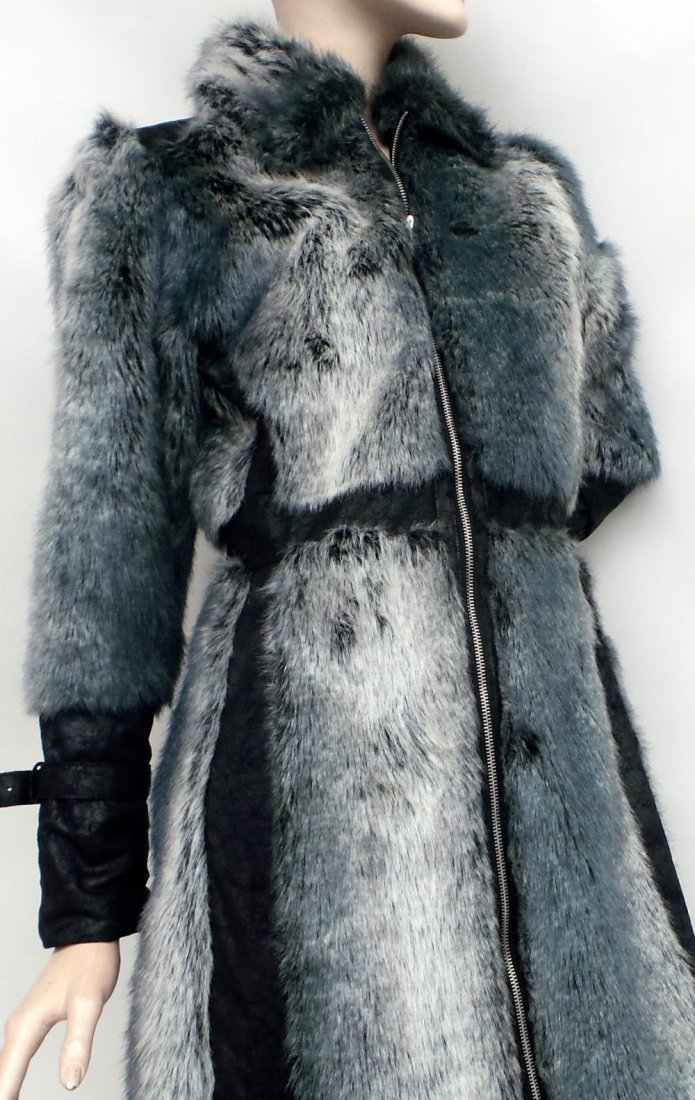 An unusual 70's/80's grey faux fur calf length fitted - 2