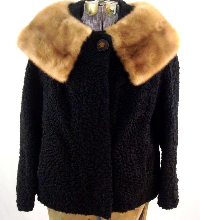 Lamb Jacket with Mink Collar