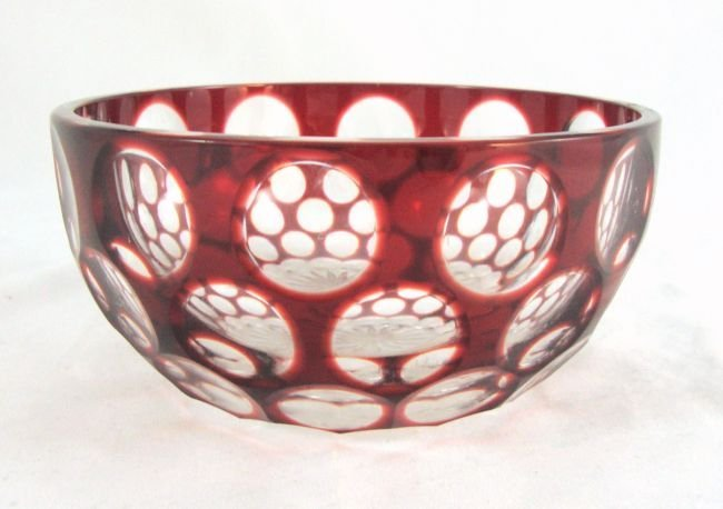 Antique Ruby Glass Cut to Clear Rinser
