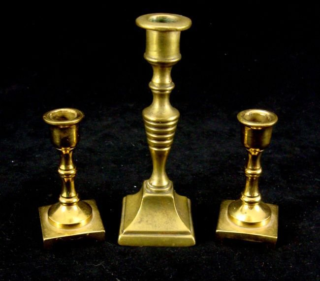 LOT  Brass miniature candleholders