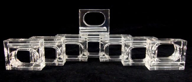 LUCITE SET of Napkin rings/Flower Holders