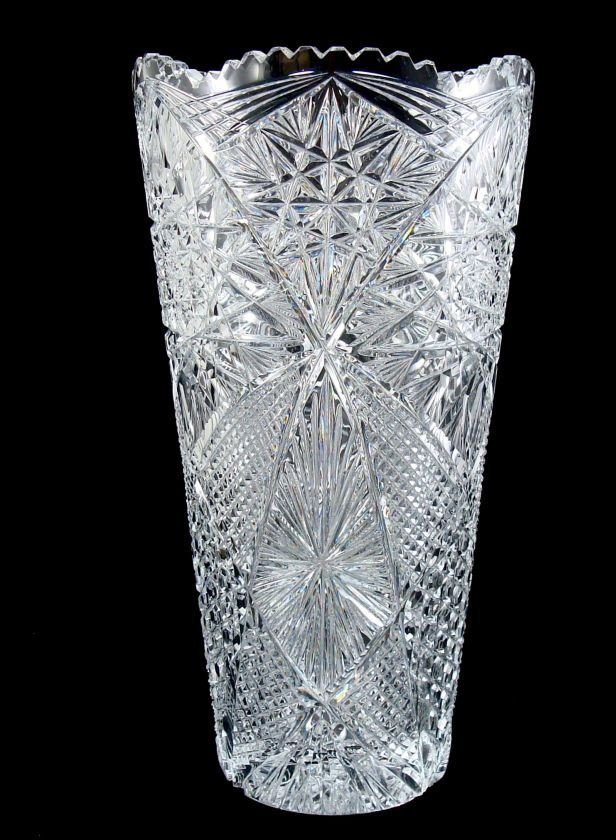 Finely Cut Glass Crystal Vase, Large