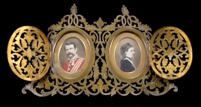 Gilded Double Portrait Frame/Hand Painted Portraits