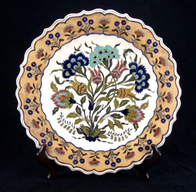 "Zsolnay ""Persian Style"" Dish Gold Rim"