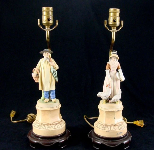 French Bisque Porcelain Lamps