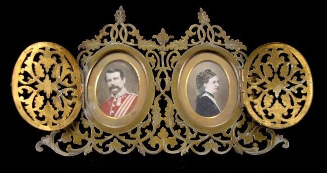 Pierced Metal Frame with Double Portrait